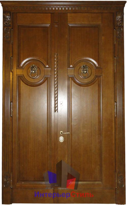 стальные двустворчатые двери из массива дуба