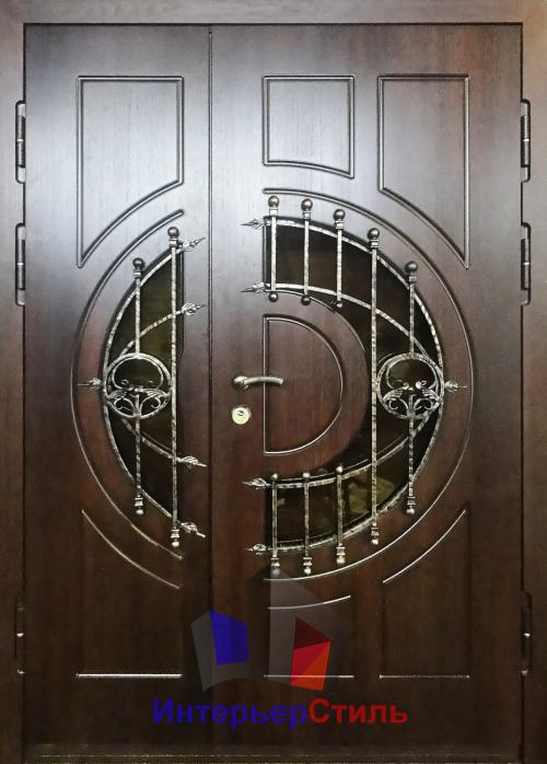 металлические двери со стеклом и ковкой стеклопакет 16