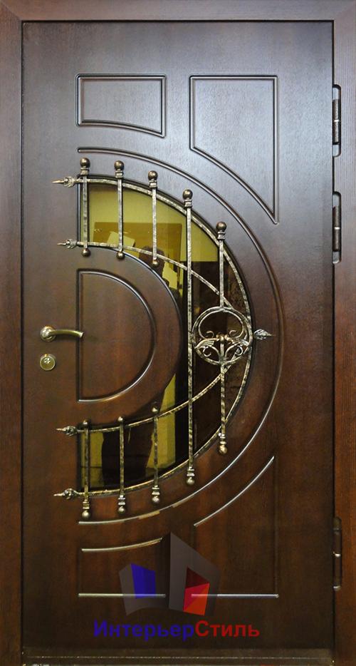 стальные двери со стеклопакетом и ковкой москва